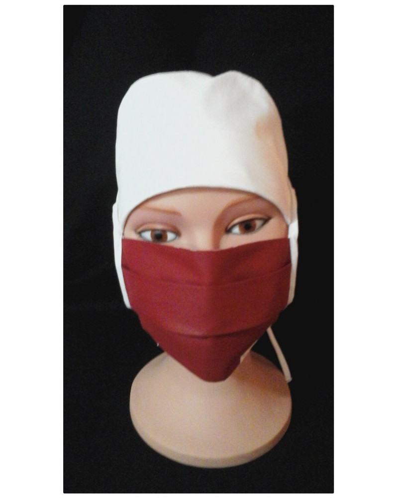 MASQUE CHIRURGICAL TISSU ROUGE 2 BORDEAUX